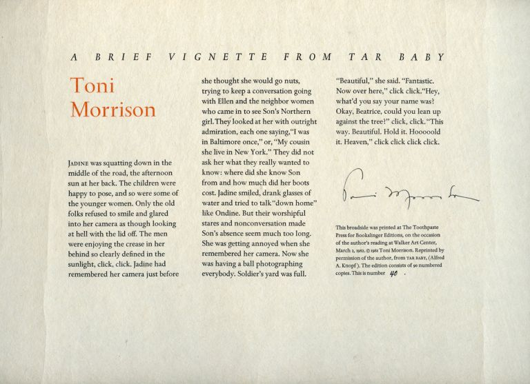 A Brief Vignette from Tar Baby. TONI MORRISON.